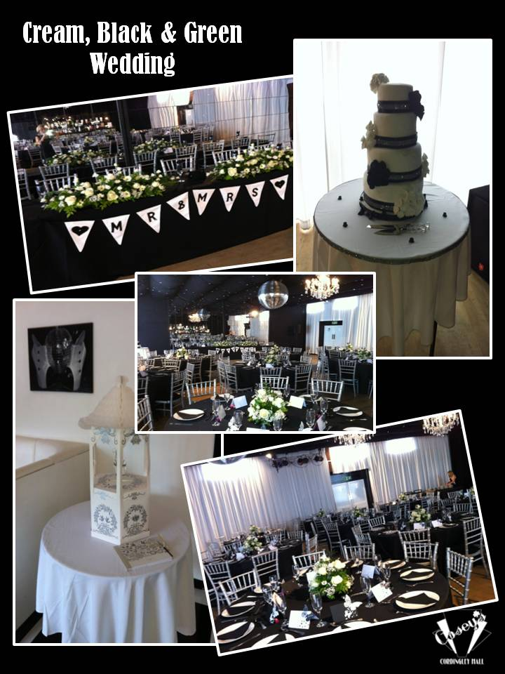 Cream, Black & Green Wedding