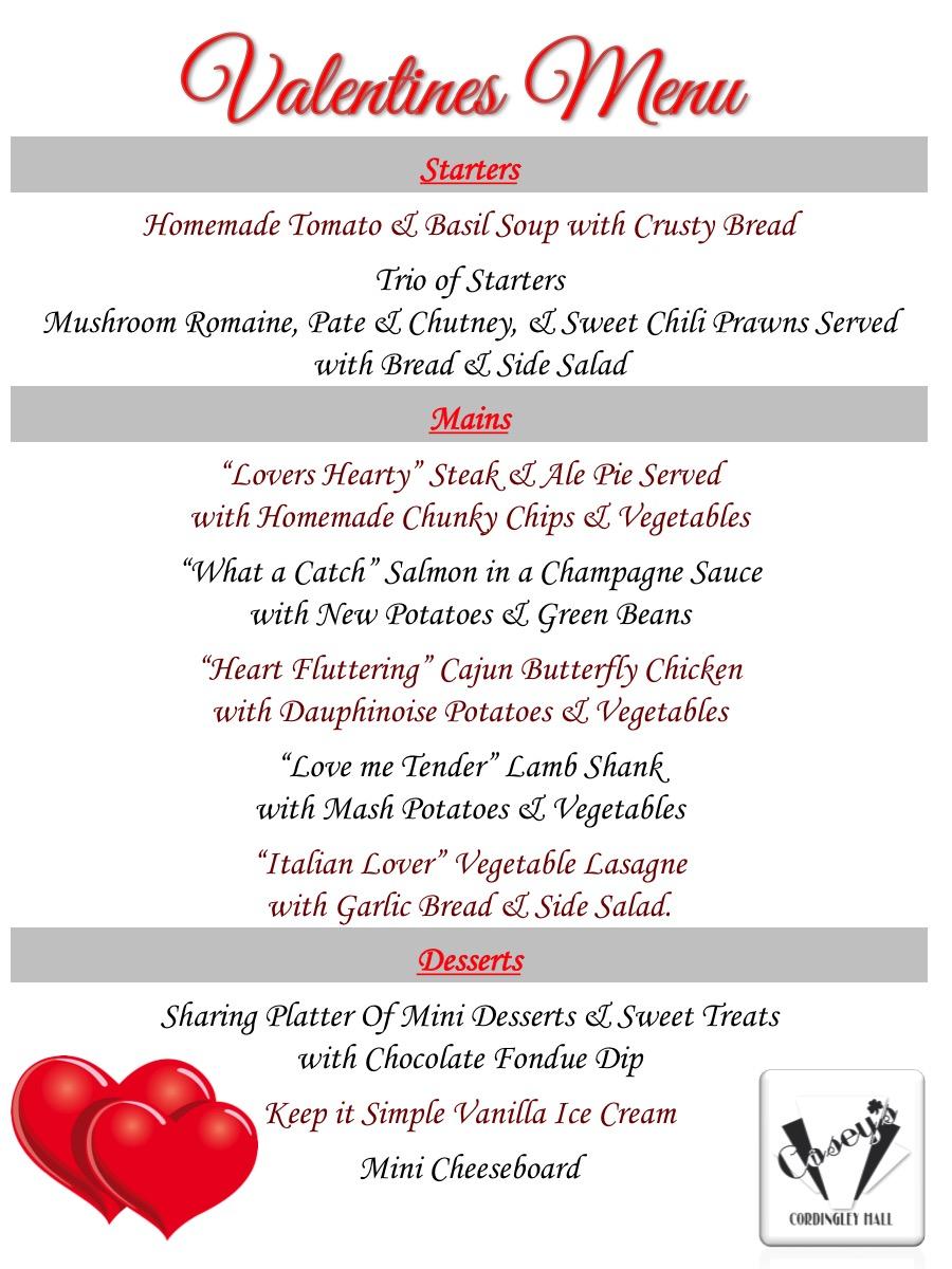 Valentines 2019 menu